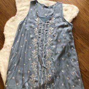 Blu Pepper Blue and White Embroidered Shift Dress